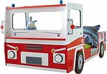 Autobett Feuerwehr inkl. Rollrost 90 * 200 rot