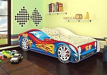 Autobett Kinderbett Bett Auto Car Junior in vier Farben mit Lattenrost und Matratze 70x140 cm Top Angebot! (Rot-Blau)