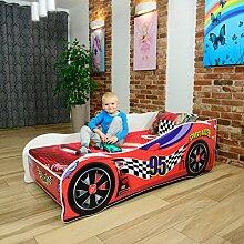 Autobett Kinderbett Bett Schlafzimmer Kindermöbel Spielbett Nobiko 140 X 70 CM 160 x 80 CM 180 X 80 CM Matratze Lattenrost (ECOLOGO- und GREENGUARD GOLD Zertifikat) (180 x 80 cm bis 12 Jahre, RED)