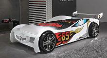 Autobett Tuning weiß Kinderbett Auto 90x200 cm