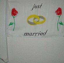 Autofahne Hochzeit Just Married Rote Rosen Fahne