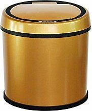 Automatische Papierkorb Edelstahl Smart Sensor Mülleimer für Haushalt, Golden, 6 L 25 * 25 * 25 CM