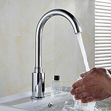 Automatischer Infrarot-Sensor Armatur Wasserhahn 360°Drehbar Waschtischarmatur Mischbatterie Waschbeckenarmatur Kalt und Warmwasser fur Badzimmer Küche Spültisch mit Schlauch und Keramisches Ventil
