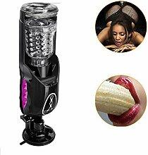 Automatischer Masturbator Erotik Sexspielzeug mit 10 Vibration Modi echte Mund Vagina flexible Sex Men Cup Teleskopischer Masturbation mit Flirtende Stimme (C)