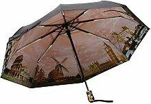 Automatischer Schalter Sonnenschutz Sonnenschutz UV-Sonnenschirm Faltregen Regenschirm,Orange