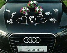 Autoschmuck BUCHSBAUM Auto Schmuck Braut Paar Rose