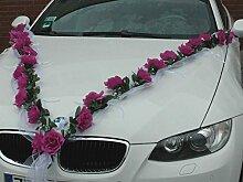 Autoschmuck ORGANZA M ROSEN GIRLANDE Auto Schmuck Braut Paar Rose Deko Dekoration Hochzeit Car Auto Wedding Deko (Violett/Weiß)