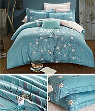 Autumn and winter thickening warm satin cotton sanding four sets of bedding