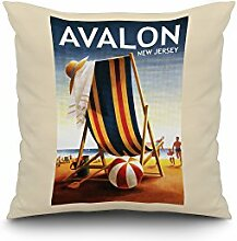 Avalon, New Jersey - Beach Chair and Ball (20x20