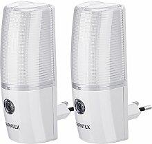 AVANTEK LED Nachtlichter mit Sensor, Stromsparendes Steckdosenlicht für Kinderzimmer, Fluren und Treppen, Kaltweiß, [2er-Set]