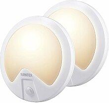 AVANTEK LED Wandleuchte Wandlampe Flurlampe mit Bewegungsmelder, Ein- und Aus-Sensor, 3 Verschiedene Modi, Batteriebetrieben, Warmweiß, [2er-Set]