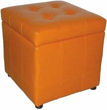 Avanti Sitzwürfel mit Deckel ORANGE BHT 40x42x40 cm - Lounge-Hocker - Lederlook mit Steppung und Stauraum