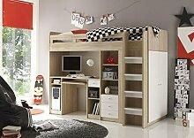 AVANTI TRENDSTORE - Hochbett mit integriertem Schreibtisch aus Eiche Sonoma / weiß Dekor, ca. 204x160x112 cm