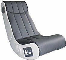 Avanti Trendstore Sessel Musik weiß/grau aus Kunstleder mit Lautsprecher Surround und Subwoofer ca. 55x 98x 84cm