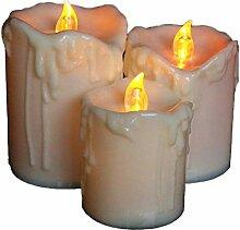 AVEKI Flammenlose Kerzen, Wachs tropfte flackernde