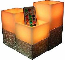 AVEKI Multicolor Flammenlose Kerze, LED Echtwachs
