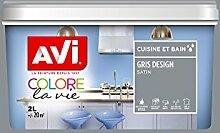 AVI 370073Färbt die Leben Malerei Küche und Bad, grau Design Satin, 2l