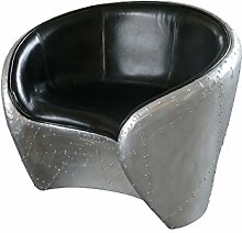 Aviator Lounge Chair Leder schwarz Sessel rund