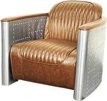 AVIATOR Vintage Leder, Aluminium Stuhl