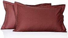 AviSales- 400 Fäden/cm², Kissenbezügen, 100% Baumwolle, Motiv: Streifen-Rot auf Ziegel