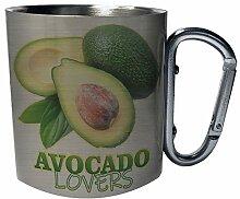 Avocado lovers Edelstahl Karabiner Reisebecher