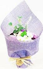 AW Blumenstrauß Blumen Bad Seife lila verpackt