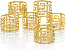 AWEI Serviette-Halter-Westdinner-Tuch-Serviette-Ring-Partei-Dekoration-Tabellen-Dekoration, 6 er Set, Gold