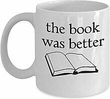 Awesome Book Worm Mug - Das Buch war besser Kaffee