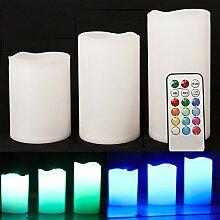 awtlifeset von 3Echtwachs flackernde flammenlose Mood | LED Farbwechsel batteriebetrieben Kerze mit Fernbedienung und Timer