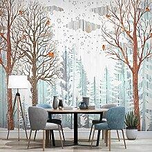 Awttmua 3D Tapete Für Wände Nordischer Waldbaum