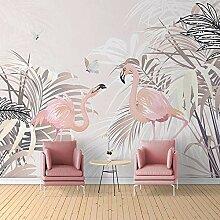 Awttmua Handgemalte Rosa Blatt Flamingo Fototapete