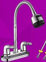 AWXJX Kupfer- Doppel- heiß und kalt Bad Armatur Waschtisch