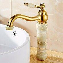 AWXJX Kupfer Jade Gold Spülbecken beschichtet erhöht Gold Waschtisch Armatur mit heißem und kaltem Leitungswasser