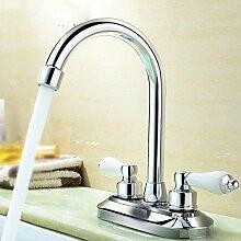 AWXJX Mit Doppelgriff Doppelloch heiße und kalte Waschbecken alle Kupfer Badezimmer im europäischen Stil Spülbecken Wasserhahn