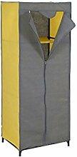 axentia 128079 Kleiderschrank Vlies-Stoff - Stoffschrank mit Kleiderstange, Metall, Blau/gelb, 75 x 50 x 160 cm