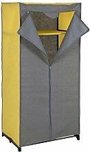 axentia 128093 Kleiderschrank Vlies-Stoff - Stoffschrank mit Kleiderstange, Metall, Blau/gelb, 60 x 45 x 157 cm