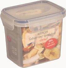 axentia Gefrier-Vorratsdose in Transparent, eckige Butterbrotdose Airproof, temperaturbeständige Brotdose mit 4 praktischen Klapplaschen, Einfrierbare Aufbewahrungsbox mikrowellengeeignet, ca. 0,9 l