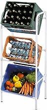 axentia Getränkekistenregal für 3 Kisten - Kistenregal stabil - Kastenständer platzsparend - Kastenregal für 3 Kästen - Flaschenkastenständer mit Wandhalterung - Getränkekistenständer für Küche & Keller