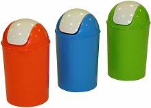 axentia Schwingdeckeleimer geruchsdicht – Mülleimer 25l für Küche & Bad – Abfalleimer rund aus Kunststoff mit Schwingdeckel – Abfallbehälter in Grün, Blau oder Orange (farblich sortiert)