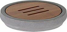 axentia Seifenschale-Seifenhalter aus Beton-Seifenablage-Holz Badzubehör für Waschbecken und Dusche-Ablage für Seife, Bambus, Grau/Holzfarben, 12 x 12 x 2.5 cm