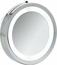 axentia Spiegel Wandspiegel mit Saugnapf-Badspiegel Beleuchtet mit LED-Badezimmerspiegel Rund-Schmink-und Kosmetikspiegel Fürs Bad, Metall, Silber, 15 x 15 x 2 cm