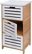 axentia Universalschrank braun/weiß, Badschrank aus Bambus mit weißen Klapptüren aus MDF-Holz, Schrank mit 3 Ebenen zum Verstauen, Türen mit Aussparungen zum Öffnen, Maße: ca. 40 x 30 x 76 cm