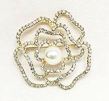 Axiba Broschen Mode Kristall Perle großblumig