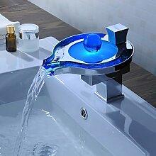 Axiba - Farbwechsel LED Wasserfall Waschbecken Wasserhahn (unique design) mit Ablaufgarnitur