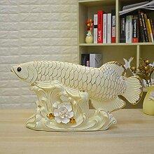 Axiba Keramik Gold Dragon Fish Ornamente Büro