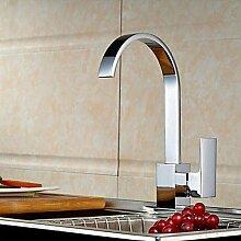 Axiba Moderne verchromten Kupfer Wasserfall Waschbecken Wasserhahn Wasserhahn - Silber