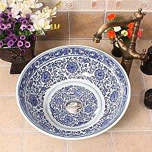 Ayhuir Blaue und weiße Keramik Aufsatzwaschbecken