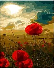 Aymsm Rotes digitales Blumenbild mit digitaler