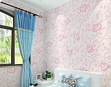 Ayzr Geschnitzte Vliestapeten Schlafzimmer Tapete Kinder, Rosa