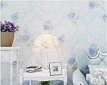 Ayzr Lila pastorale Wallpaper Schlafzimmer Wohnzimmer mit Non-Woven Hintergrund Wand Tapete, Blau